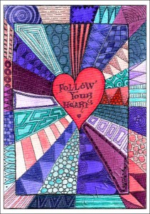 Heart Zentangle - Coloured!