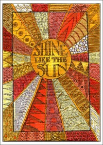 Sun Zentangle - Coloured