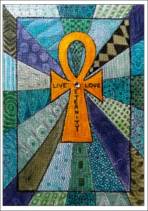 Ankh Zentangle - Coloured