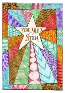 Star Zentangle - coloured